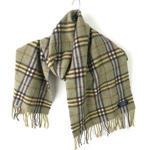 Burberry Fringe Scarf Vintage Plaid Wool #708